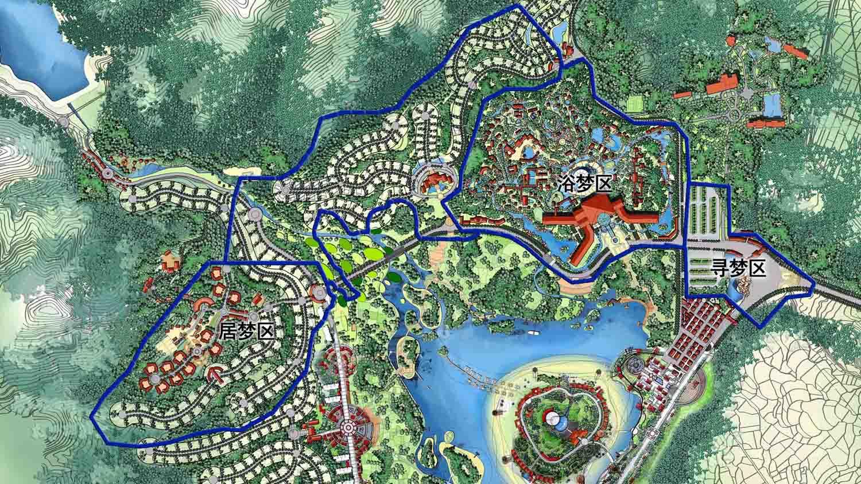 项目类别:生态旅游规划与景观设计 项目规模:4200亩 项目地点:江西省抚州市 项目时间:2009年 规划设计概念与设计主线 规划设计概念:青山绿水间的彩飘带 规划区域位于青莲山与铜山之间,自然地理地貌呈三角形盆地状,由青莲湖向下,地形呈台阶状下跌,形成岩、洞、溪的峡谷景观。在 末端又忽然开朗,展现出一片冲击平原般的滩涂,视野随之扩大。葱翠的树木拌着青莲溪缓缓而下,宛如一条条丝带从青莲湖飘洒开来。以此为总体规划蓝本体现了大景观的造景手法与天地人关系的融合,体现设计的生态艺术性。在设计上则采用不规则的流线状